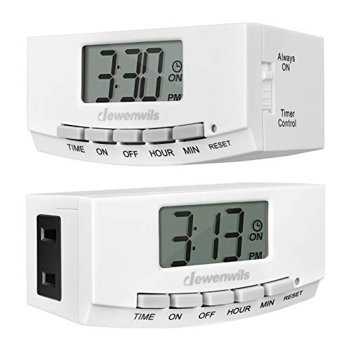 DEWENWILS Indoor Outlet Christmas Light Timer, Digital Plug in Programmable Lamp Timer Switch with 1 Polarized Outlet, Space Saving Design for Electrical Outlets, Grow Light,1/2 HP, UL Listed, 2 Pack (Designs Bar Indoor)