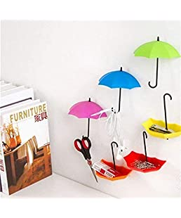 Ystore Plastic Umbrella Style Fancy Wall Hanger or Hook (Multicolour) -3 Piece Per Set