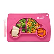 Silicone Placemat for Kids + Bonus Non Toxic Baby Spoon & Gift Bag - 16 x 10 x1  Car Placemat by Chamby/Portable Suction Baby Plate/BPA Free Non Slip Silicone Children Placement (Pink)