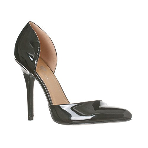 (Riverberry Women's Nora Pointed Toe, Slip On D'Orsay Pump Heels, Black Patent, 7)