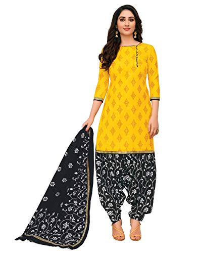 Miraan Women Cotton Unstitched Dress Material (SGPRI714, Yellow, Free Size)