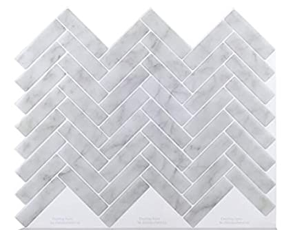 Amazon Com Peel Stick White Gray Marble Herringbone Backsplash 4