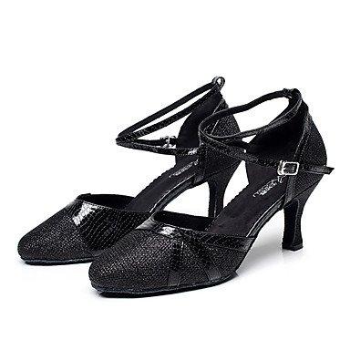 XIAMUO Nicht anpassbar - Die Frauen tanzen Schuhe Leder Leder Latin/Moderne Turnschuhe Ferse Praxis, Schwarz, US 8 / EU 39/UK6/CN 39