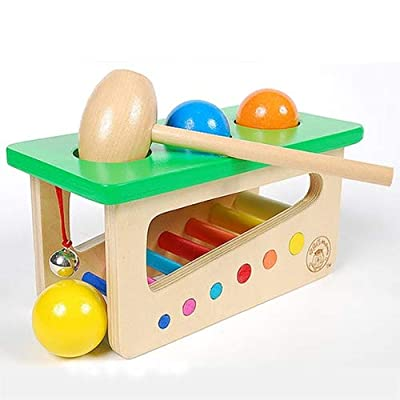 Wooden Adult Educational Toys Educational Toy Colorful Wooden Ringing Bell Knocking Ball Station kids toys Early Education Wood Toys: Everything Else