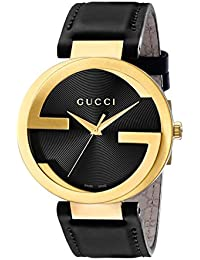 Swiss Quartz Gold-Tone and Leather Dress Black Mens Watch(Model: YA133212)