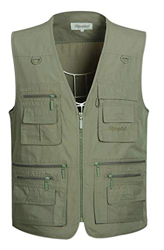 (Gihuo Men's Summer Cotton Leisure Outdoor Pockets Fish Photo Journalist Vest (Large, Army Green))