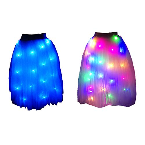 SHINYOU Women Tutu Skirt LED Light Up Ballet Dance Running Skirt (White+Blue Light, Long (Waist:27~41in)) -