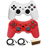 Molgegk Wireless Bluetooth Controller For PS3 Double Shock - Bundled with USB charge cord (Red and White)