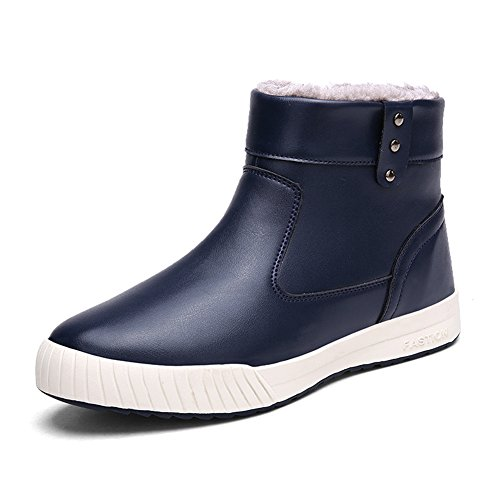 Duoduo Men's 8809 Casual Leather Warm Winter Snow Boots Shoes (9.5, Blue) -