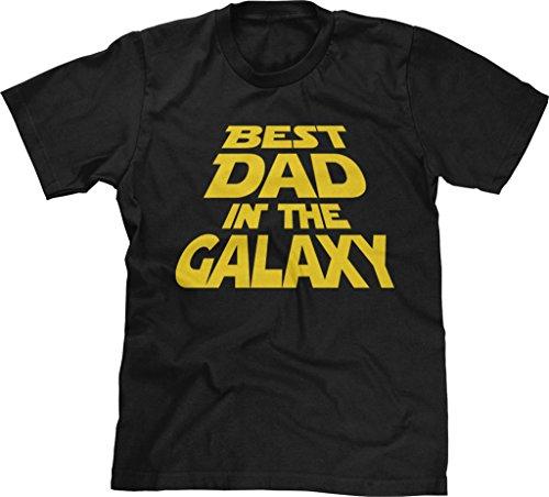 Blittzen Mens Best Dad in The Galaxy, XL, Black (Best Dad In The Galaxy Shirt)