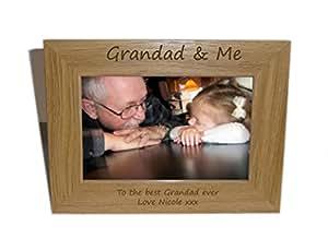 Abuelo y yo de madera marco de fotos 8x 6–personalizar este marco–grabado gratis