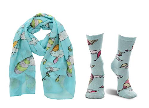 elope Dr. Seuss Oh, The Places You'll Go! Crew Socks and Scarf Kit Bundle Blue -
