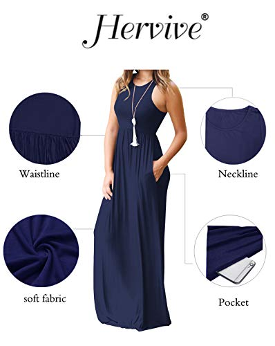 Hervive with navy Women's Racerback Long Sleeveless Sleeves A sleeveless Short Maxi Loose Pockets Dresses Plain rrUwvCq
