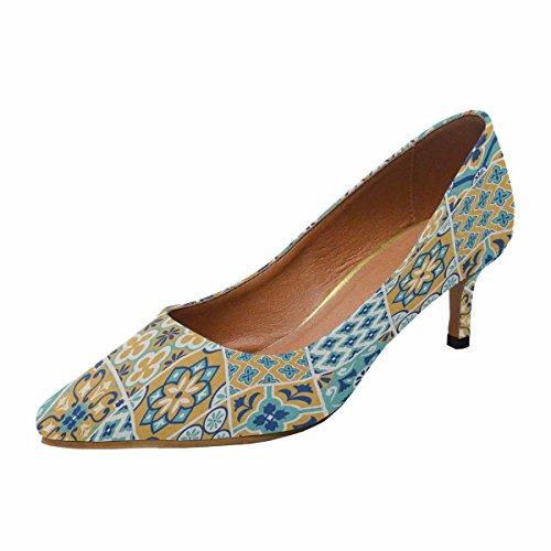 Talon De Chaton Faible Dinterestprint Womens Bout Pointu Chaussures De Pompe De Chaussures Modèle De Tuile Multi 1