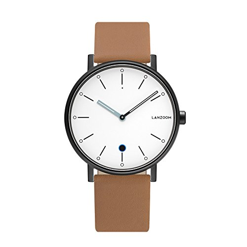 LANZOOM Rhine41-12-3L Business Classic Luxury Sport Quartz Bluetooth Smart Wrist Watch Light Hybrid Sports Fitness Multifunctional Smartwatches for Men Women (White + Coffee)