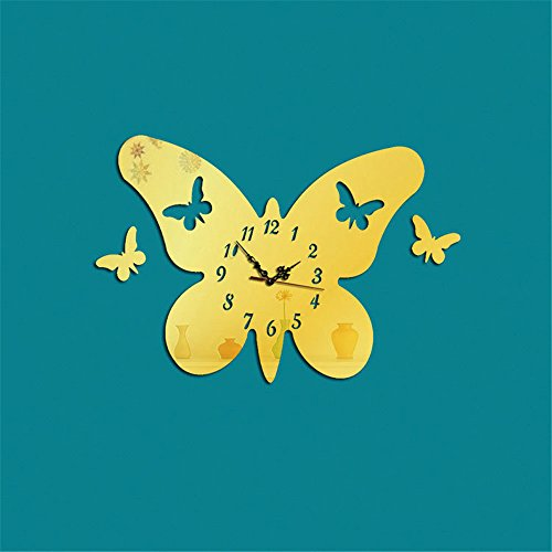 Creative 3D stereo butterfly mirror clock can be removed wall stickers living room home decoration mirror clock, gold