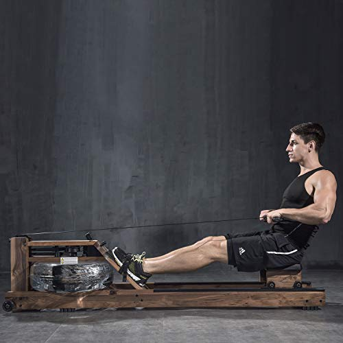 BATTIFE Water Rowing Machine with Bluetooth Monitor for Home Gyms Fitness Indoor Use, Black Walnut Wood