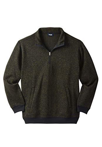 (KingSize Men's Big & Tall 1/4 Zip Sweater Fleece, Olive Marl Big-3Xl)