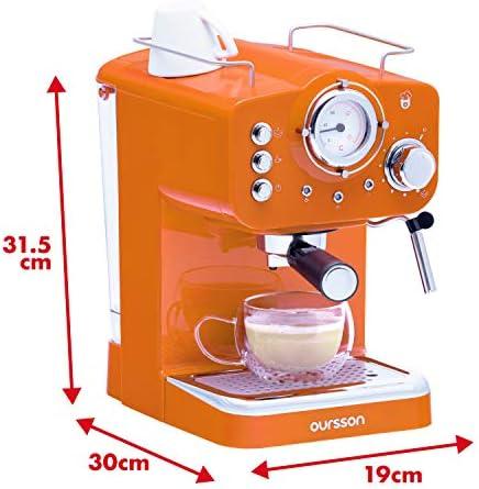Machine à Espresso Oursson pour préparer du Café et des boissons lactées, Série EM1500, Orange, 15 bars, Buse Vapeur Réglable, Thermomètre Rétro, Garantie 3 ans