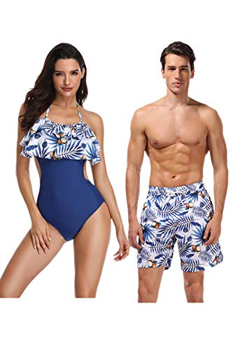 Jumojufol Women Men Couple Swimsuits Matching Swim Trunk Bikini 2 Pack Blue4 Women L/Men M (Couple Swim Suit)