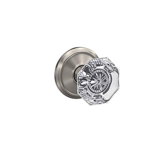 Schlage Custom FC21 ALX 619 ALD Alexandria Glass Knob with Alden Trim Hall-Closet and Bed-Bath Lock, Satin Nickel
