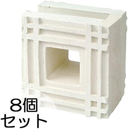 ブロック せっき質無釉ブロック ポーラスブロック150コーナー 白土 F(配筋溝あり・1面フラット) 8個セット単位 屋外壁