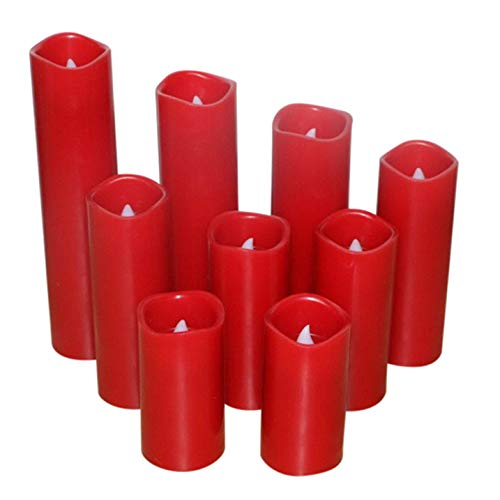 Kitch Aroma Red Flameless Pillar Flickering LED Candles with Remote for Home Decor (red) by Kitch Aroma (Image #2)