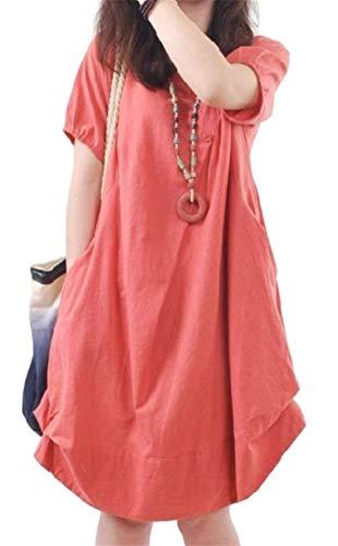 Haokan Vestido Medio de Manga Corta de Lino Cuello Alto de algodón Flare Elegante para Mujer (Color : Rojo, tamaño : Medio)