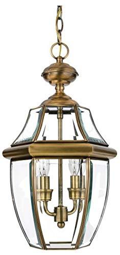 Quoizel NY1179A Newbury Outdoor Pendant Lantern Ceiling Lighting, 3-Light, 180 Watts, Antique Brass (21
