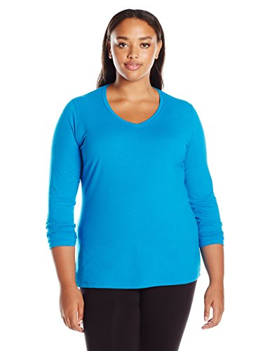 Just My Size Women's Plus Size Vneck Long Sleeve Tee, Deep Dive, ()
