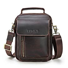 Tiding Retro Men's Small Leather Shoulder Satchel Crossbody Messenger Briefcase School Bag Travel Handbag for iPad Mini - with Detachable Strap (Dark Brown)
