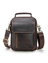 Tiding Vintage Men's Small Leather Shoulder Satchel Crossbody Messenger Briefcase School Bag Travel Handbag for iPad Mini - with Detachable Strap (Dark Brown)