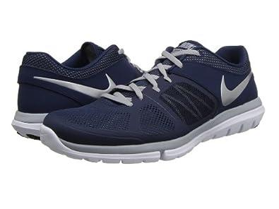 58495b066fa46 Nike Mens Flex 2014 Run Running Shoe Midnight Navy Wolf Grey White Metallic