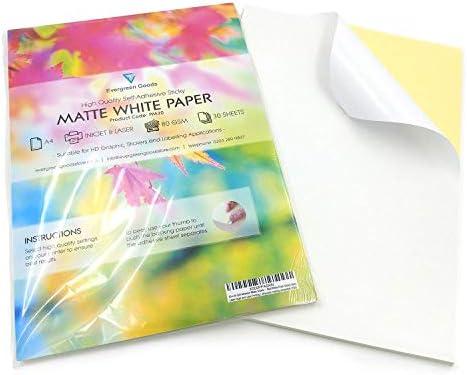 EVG Home & Office Supplies (Evergreen Goods) Etikettendruckpapier, A4, matt, selbstklebend, Weiß, 100 Blatt