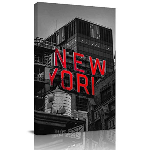 Arts Language Canvas Print Wall Art New York City Buildings Stretched and Framed Modern Giclee Artwork for Office/Livingroom/Bedroom/Hallway -