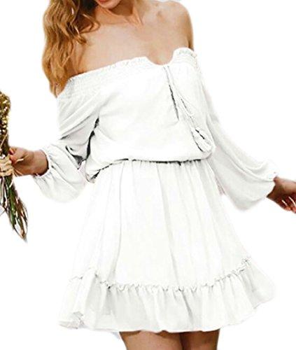Jaycargogo Femmes Au Large De La Mousseline Épaule Manches Longues Mini-robes À Volants Blanc