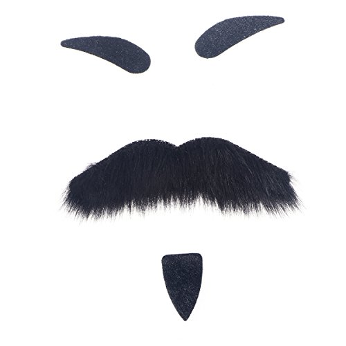 BESTOYARD Three-Piece Novelty Halloween Costumes Self Adhesive Fake Eyebrows Beard Moustache Goatee Kit Facial Hair Cosplay Props Disguise Decoration for Masquerade Costume Party (Black, Style B)]()