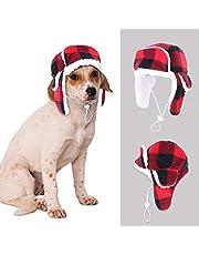 SEIS Christmas Dog Trooper Hat with Earmuffs Winter Adjustable Pet Ushanka Red Plaid Pet Cap Xmas Dog Headwear for Small Medium Large Dogs (Ushanka)