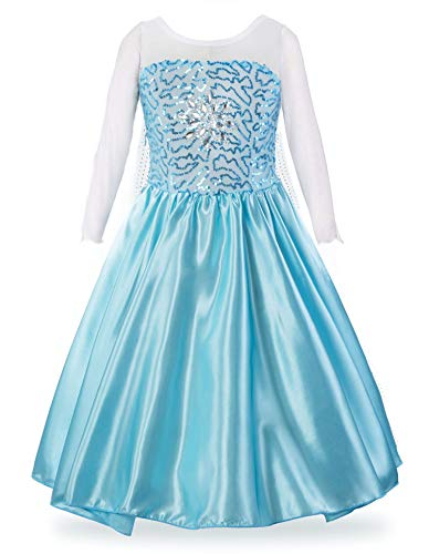 Padete Little Girls Anna Princess Dress Elsa Snow Party Queen Halloween Costume (6 Years, Light Blue)