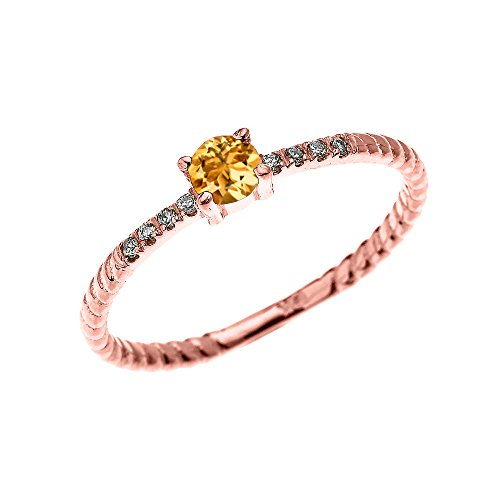 14k Rose Gold Dainty Diamond and Solitaire Citrine Rope Design Stackable/Proposal Ring(Size 4.75) (Ring Diamond And Citrine)