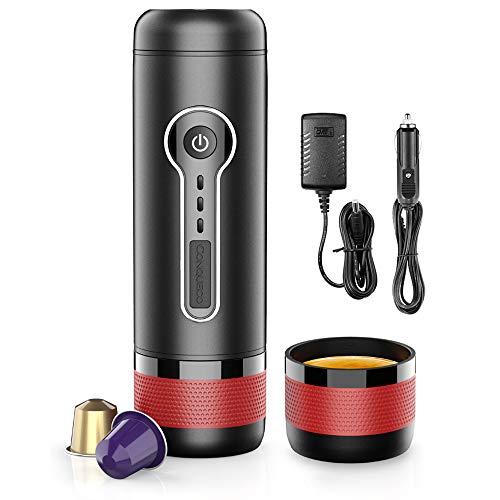 CONQUECO Cafetera Nespresso portátil, Máquina de Espresso de Cápsulas, Calefacción Eléctrica 12V, Perfecto para Coche y…