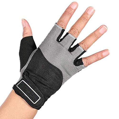 Lwj Semi-Finger Sports Gloves Breathable Black and Gray Gloves Suitable for Fitness Riding Mountaineering