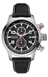 Nautica A18546G - Reloj cronógrafo de cuarzo para hombre, correa de cuero color negro