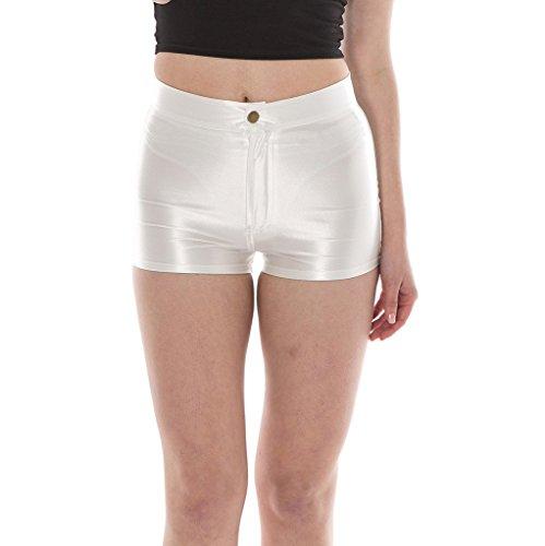 Manstore Women's Shiny Satin Metallic Wet Look Sexy Short Hot Pants 9 Colors gream S ()