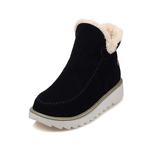 986e41bdff8 WOIDIOUY Big Size Pure Color Warm Fur Lining Winter Ankle Snow Boots for  Women