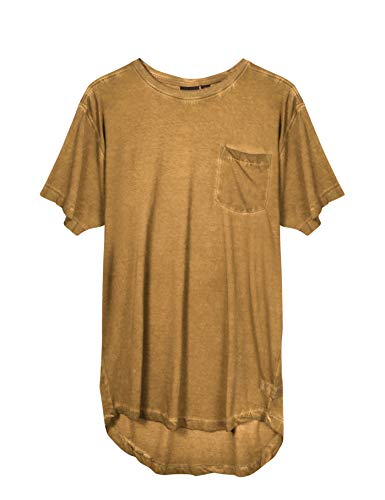Hat and Beyond Mens Basic Hipster T Shirts Hip Hop Soft Casual Tee (Large, a17te05_Cashew) ()