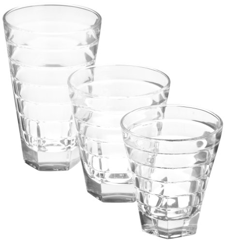 D&V Anelli Glass Beverage Collection, Assorted Sizes, Set of 18