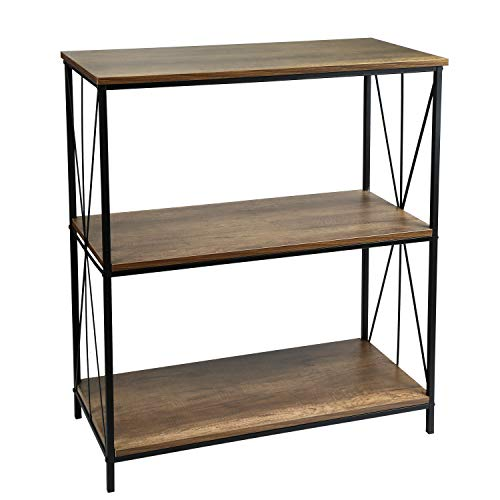 Adeco 3-Tier Console Table, Accent Bookcase, Entryway, Living Room, 35 Inches Height