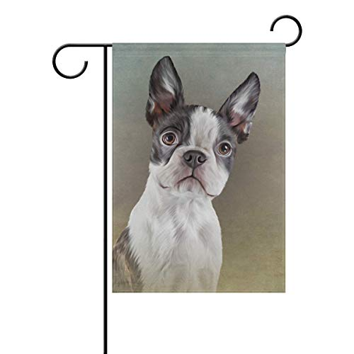 YATELI Oil Painting Boston Terrier Dog Garden Flag Banner 12 x 18 Inch Decorative Lawn and Home Double-Sided -