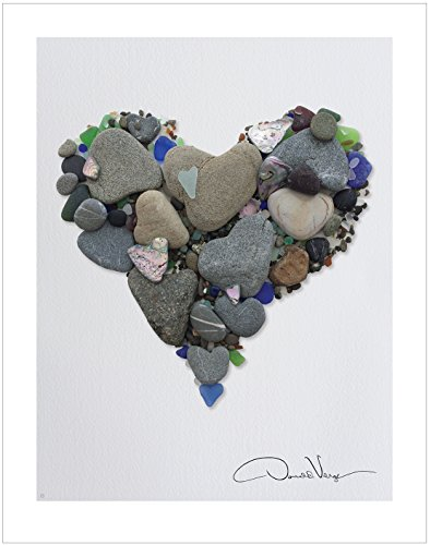 Donald Verger LOVE- Heart Stones & Sea Glass Heart Poster Print. 11x14 Great For Framing. Best Quality Gifts of The Heart Collection. Unique Birthday, Christmas & Valentines Day Gifts for Women & Men